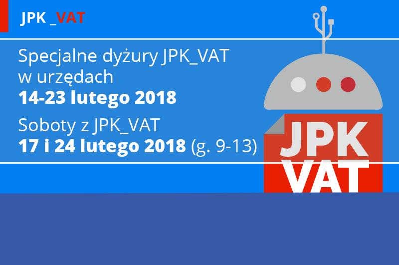 Grafika przedstawia - na niebieskim tle, po prawej stronie symbol JPK (podobny do symbolu androida), po lewej stronie znajduje się informacja